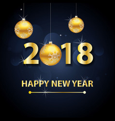 2018 happy new year background with gold letters vector image