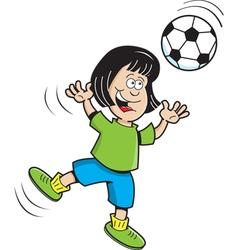 Cartoon Soccer Girl Jumping vector image