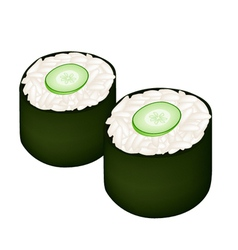 Cucumber sushi roll or cucumber maki on white vector
