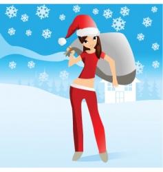 girl Santa vector image