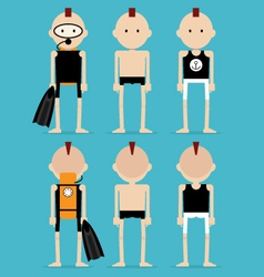 Punk man in summer clothes and swimwear vector