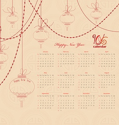 Calendar 2016 with chinese lantern garland vector