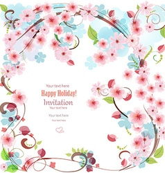 Filigree invitation card with blossom cherry for vector