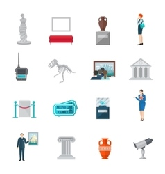 Museum icon flat vector