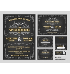 Vintage chalkboard wedding invitations design sets vector
