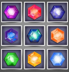 Set of icons with crystals vector