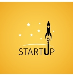 Startup icon with rocket flying in space vector image