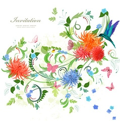 Colorful invitation card with floral ornament vector