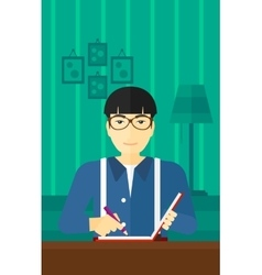 Reporter with writing-pad vector