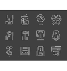 Household appliances white flat line icons vector