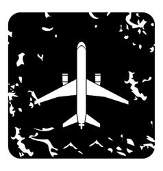 Big plane icon grunge style vector