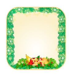 Button square christmas spruce with fruit vector