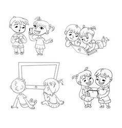 Children and technical progress coloring book vector