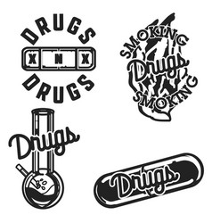 Color vintage drugs emblems vector