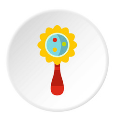 Colorful baby rattle icon circle vector