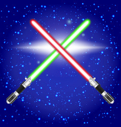 Crossed light sabers vector image