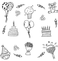 Doodle of party art with hand draw vector image vector image