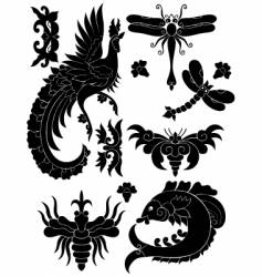 fauna decorative elements vector image