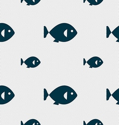 Fish icon sign seamless pattern with geometric vector