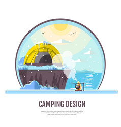 Flat style design of winter seaside and caming vector