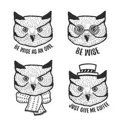 Hand drawn cartoon owl head prints set vector