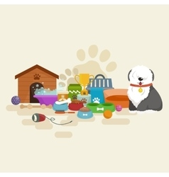 Happy Dog kennel house with bone and bowl of food vector image