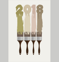 happy new year 2018 colorful paint brushes vector image
