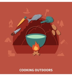 Hiking Equipment And Food Products For Cooking vector image