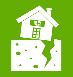 House after an earthquake icon green vector