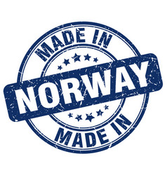 made in norway blue grunge round stamp vector image vector image