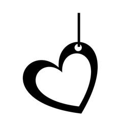 Monochrome silhouette of heart pendant of thread vector