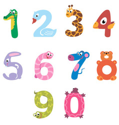 Numbers like domestic and wild animals vector image vector image
