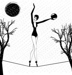 rain and a strange girl with ball vector image