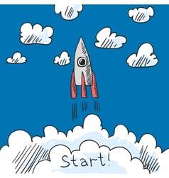 Rocket poster sketch vector image vector image