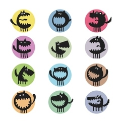 set of cartoon cute monsters vector image