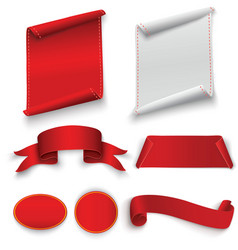 set of red curved paper blank banners isolated on vector image