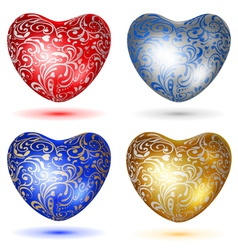 Set of shiny hearts with curls vector image vector image