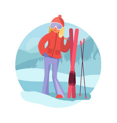 skier girl winter sports concept vector image vector image