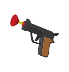 Toy gun with suction cup cartoon icon vector image