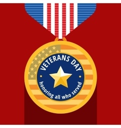 Veterans day flat medals icons vector