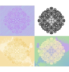 Radial ornament in four styles vector