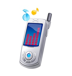 Icon mobile phone and music vector