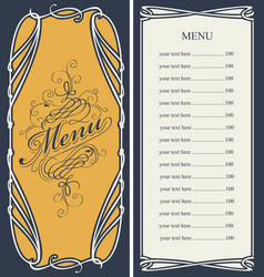 Menu with price list and curlicues frame vector