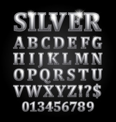 silver letters isolated on black background vector image