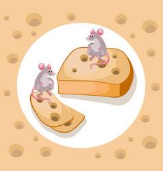 mice cheddar cheese funny cartoon caracter vector image