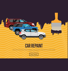 Car repainting business concept with city cars vector