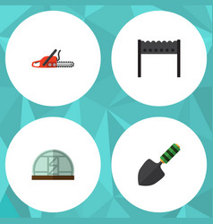 Flat icon dacha set of hothouse barbecue trowel vector