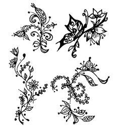 Floral and decorative design elements vector