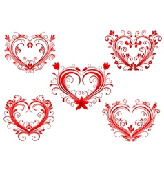 Elegant floral red valentine hearts set vector