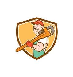 Plumber smiling holding monkey wrench crest vector